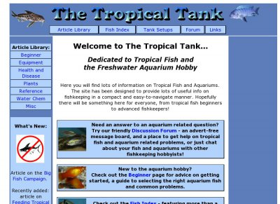 The Tropical Tank - Tropical Fish and Aquarium Fishkeeping